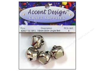 Jingle Bells by Accent Design 3/4 in. 4 pc. Silver