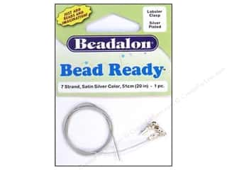 beading & jewelry making supplies: Beadalon 7 Strand Wire Lobster Clasp 20 in. Silver