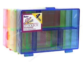 Darice Plastic Organizer 3 1/2 x 4 1/2 x 1 in. 4 pc. Assorted Neon