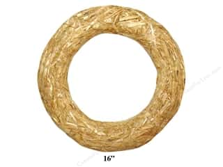 decorative floral: FloraCraft Straw Wreath 16 in. Clear Wrap