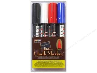 Uchida Bistro Chalk Marker Round Tip Set C White Black Red Blue 4 pc.