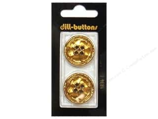 Dill 4 Hole Buttons 1 in. Gold Metal #1834 2 pc.