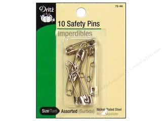 elastic: Safety Pins by Dritz Assorted Nickel 10pc.