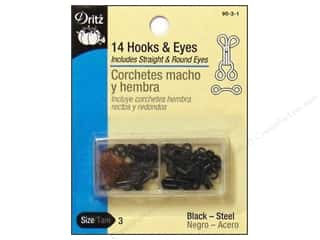 Dritz Hooks & Eyes - Size 3 Black 14 pc.