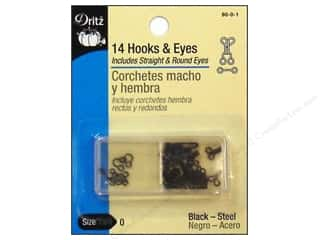 Dritz Hooks & Eyes - Size 0 Black 14 pc.