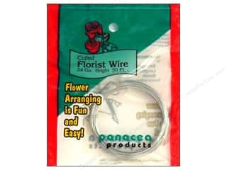 floral wire: Panacea Coiled Florist Wire 24-Gauge 50 ft. Bright