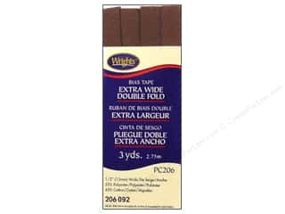 Wrights Extra Wide Double Fold Bias Tape - Seal Brown 3 yd.