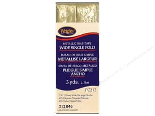 Wrights Metallic Wide Single Fold Bias Tape - Gold 3 yd.