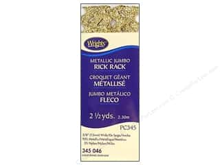 Wrights Jumbo Rick Rack 2 1/2 yd. Metallic Gold