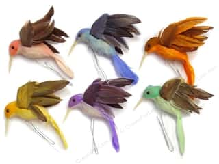 Clearance Floral & Garden Accents Large Bird: Accent Design Artificial Bird 3 in. Hummingbird Assorted Pastel Feather 1 pc.