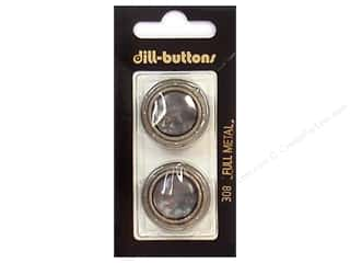 Buttons: Dill Shank Buttons 1 in. Grey/Silver Metal #308 2 pc.