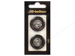 Dill 2 Hole Buttons 1 in. Black/Silver #466 2 pc.
