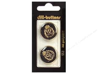 Dill Shank Buttons 7/8 in. Enamel Black/Gold #553 2 pc.