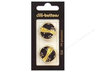 Dill Shank Buttons 7/8 in. Enamel Black/Gold #506 2 pc.