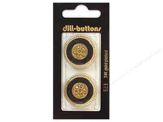 Dill Shank Buttons 1 in. Enamel Black/Gold #523 2 pc.
