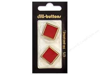 Dill Shank Buttons 1 in. Enamel Red/Gold #675 2 pc.