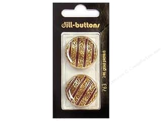 Dill Shank Buttons 1 in. Enamel Wine Red/Gold #763 2 pc.