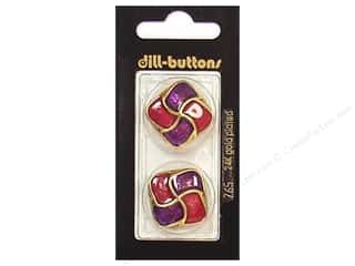 Dill Shank Buttons 1 in. Enamel Wine Red/Purple/Gold #765 2 pc.