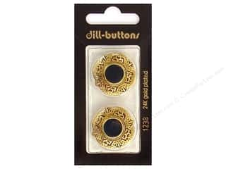 Dill Shank Buttons 1 in. Enamel Green/Gold #1238 2 pc.