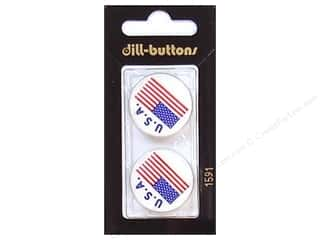 Dill Shank Buttons 1 in. USA Flag #1591 2pc.