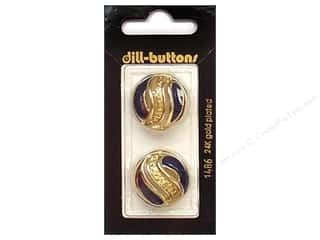 Dill Shank Buttons 7/8 in. Enamel Navy/Gold #1486 2 pc.
