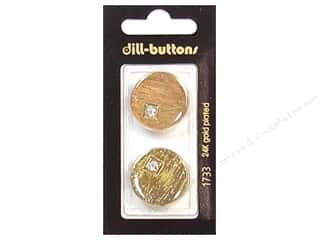 Dill Shank Buttons 7/8 in. Rhinestone Gold #1733 2 pc.