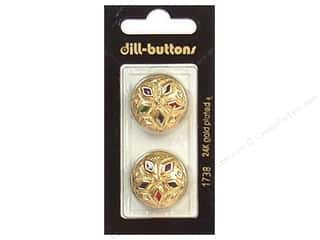 Dill Shank Buttons 7/8 in. Enamel Gold Multicolor #1738 2 pc.