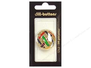 ribbon: Dill Shank Buttons 1 1/8 in. Enamel Gold Multicolor #1743 1 pc.