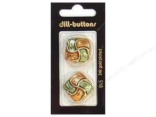 Dill Shank Buttons 1 in. Enamel Green/Orange #845 2 pc.