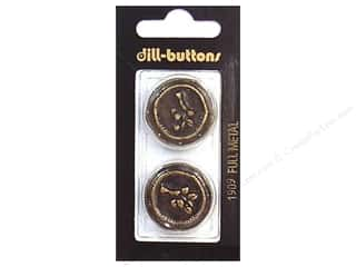Dill Shank Buttons 1 in. Antique Brass Metal #1909 2 pc.