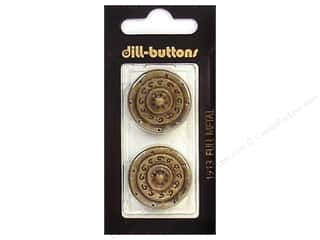 Dill Shank Buttons 1 in. Antique Brass Metal #1913 2 pc.
