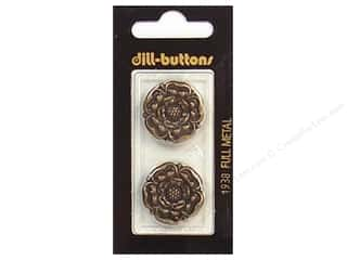 Dill Shank Buttons 7/8 in. Antique Brass Metal #1938 2 pc.