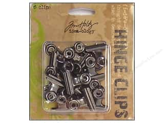 Tim Holtz Metallic Mixative: Tim Holtz Idea-ology 1 in. Hinge Clips 15 pc. Antique Nickel