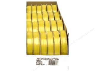 Offray Spool-O-Ribbon Double Face Satin Bright Yellow (24 spools)