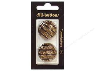 Dill Shank Buttons 1 in. Enamel Black/Gold #543 2 pc.