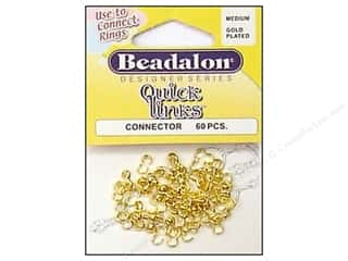 beading & jewelry making supplies: Beadalon Quick Links Connectors 60 pc. Medium Gold
