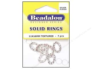 Beadalon Solid Rings 11 x 16 mm Textured Silver 7 pc.