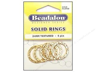 Beadalon Solid Rings 24 mm Textured Gold 5 pc.