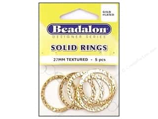 craft & hobbies: Beadalon Solid Rings 27 mm Textured Gold 5 pc.