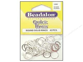 beading & jewelry making supplies: Beadalon Quick Links Round 12 mm Silver Plated 42 pc.