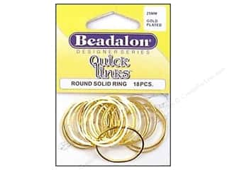 beading & jewelry making supplies: Beadalon Quick Links Round 25 mm Gold Plated 18 pc.