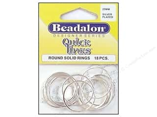 beading & jewelry making supplies: Beadalon Quick Links Round 25 mm Silver Plated 18 pc.
