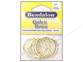 beading & jewelry making supplies: Beadalon Quick Links Round Diamond Cut 30 mm Gold Plated 10 pc.