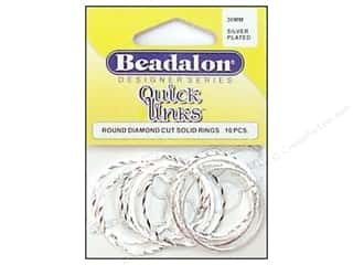 beading & jewelry making supplies: Beadalon Quick Links Round Diamond Cut 30 mm Silver Plated 10 pc.