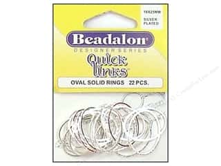 beading & jewelry making supplies: Beadalon Quick Links Oval 18 x 25 mm Silver Plated 22 pc.