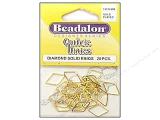 beading & jewelry making supplies: Beadalon Quick Links Diamond 10 x 16 mm Gold Plated 28 pc.