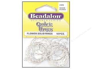 beading & jewelry making supplies: Beadalon Quick Links Flower 25 mm Silver Plated 18 pc.