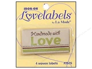 Blumenthal Quilting: Blumenthal Iron-On Lovelabels 4 pc. Handmade With Love Natural