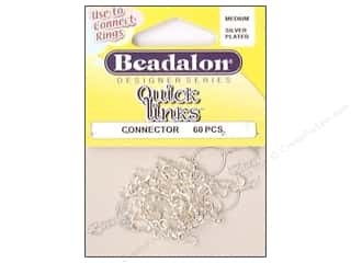 beading & jewelry making supplies: Beadalon Quick Links Connectors 60 pc. Medium Silver
