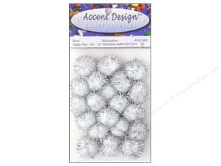 PA Essentials Pom Poms 1/2 in. White/Silver Glitter 20 pc.